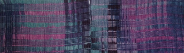 "Blue with Purple - Lightweight Bamboo Handwoven Scarf, Open Weave, 8"" x 67"""