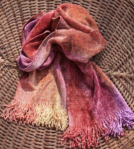 Gold, Orange, Coral, Purple - Bamboo Chenille Scarf - Space-Dyed 8