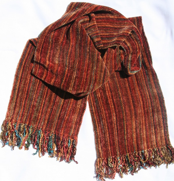 Autumn Rainbow Micro Stripes - Bamboo Chenille Handwoven Scarf 8 x 68
