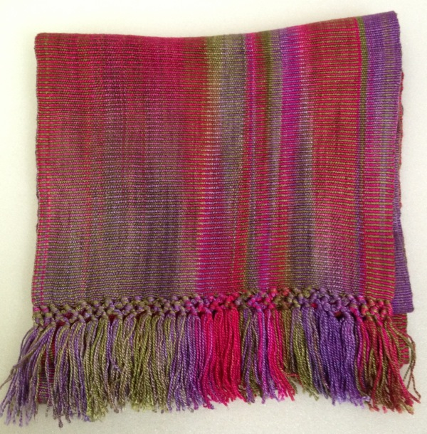 Fuchsia, Olive, Purple - Bamboo Chenille Scarf - Space-Dyed 8