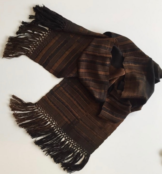Browns and Black - Lightweight Bamboo Handwoven Scarf, Open Weave, 8