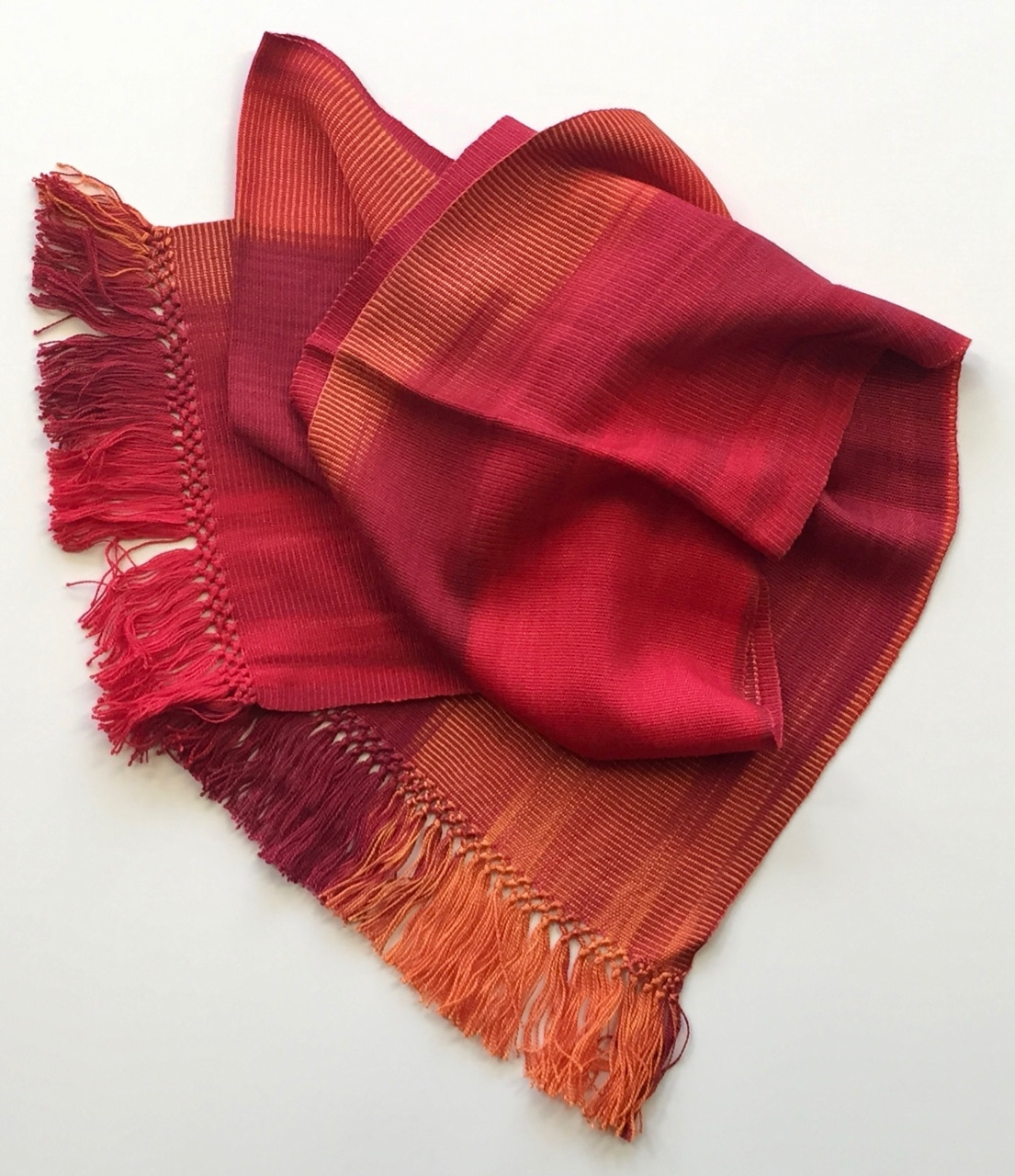 Red, Orange - Lightweight Bamboo Handwoven Scarf 8 x 68