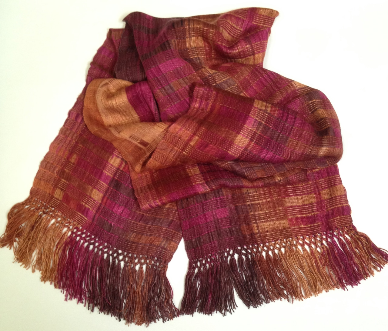 Raspberry, Apricot - Lightweight Bamboo Open-Weave Handwoven Scarf 8 x 68