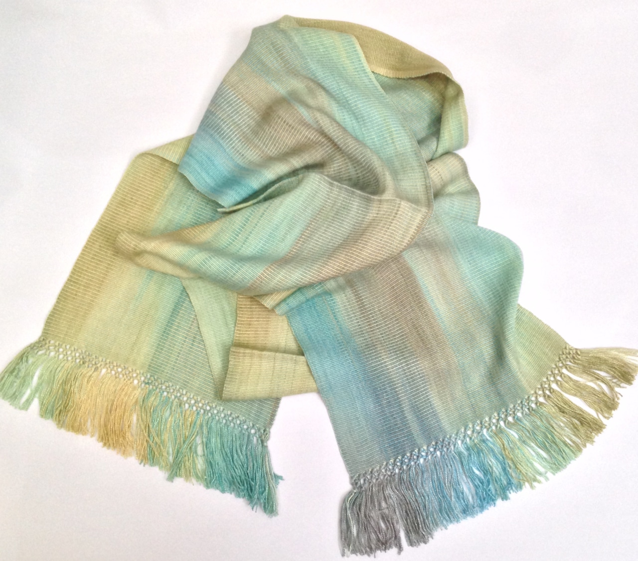 Pale Greens and Beige - Lightweight Bamboo Handwoven Scarf 8