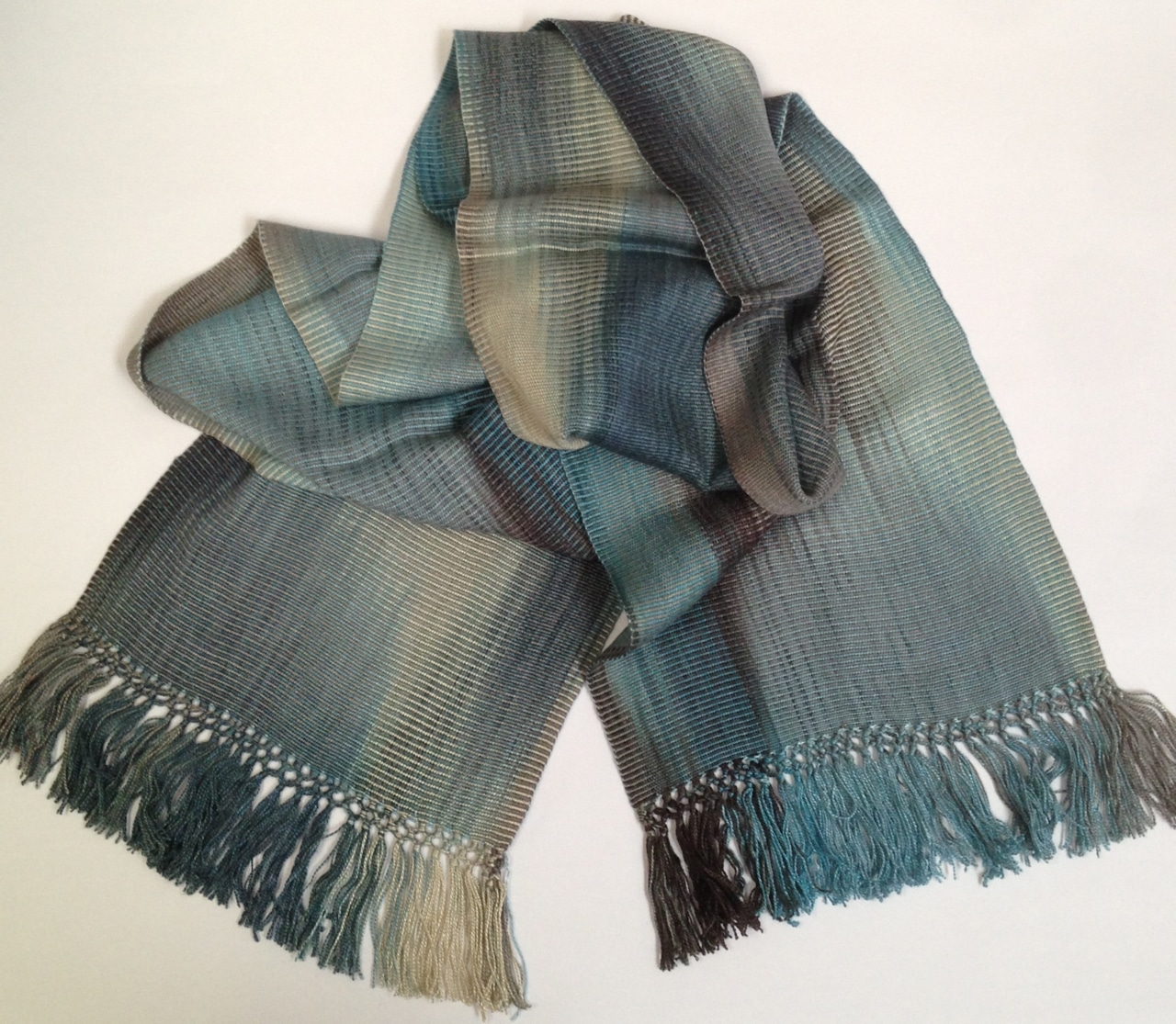 Blue, Black, Gray - Lightweight Bamboo Handwoven Scarf 8