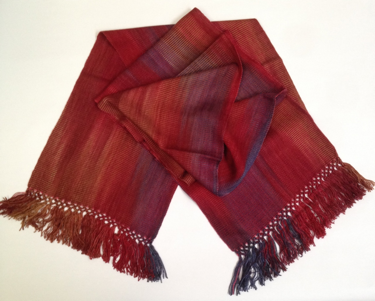 Red, Blue, Light Coffee - Lightweight Bamboo Handwoven Scarf 8 x 68