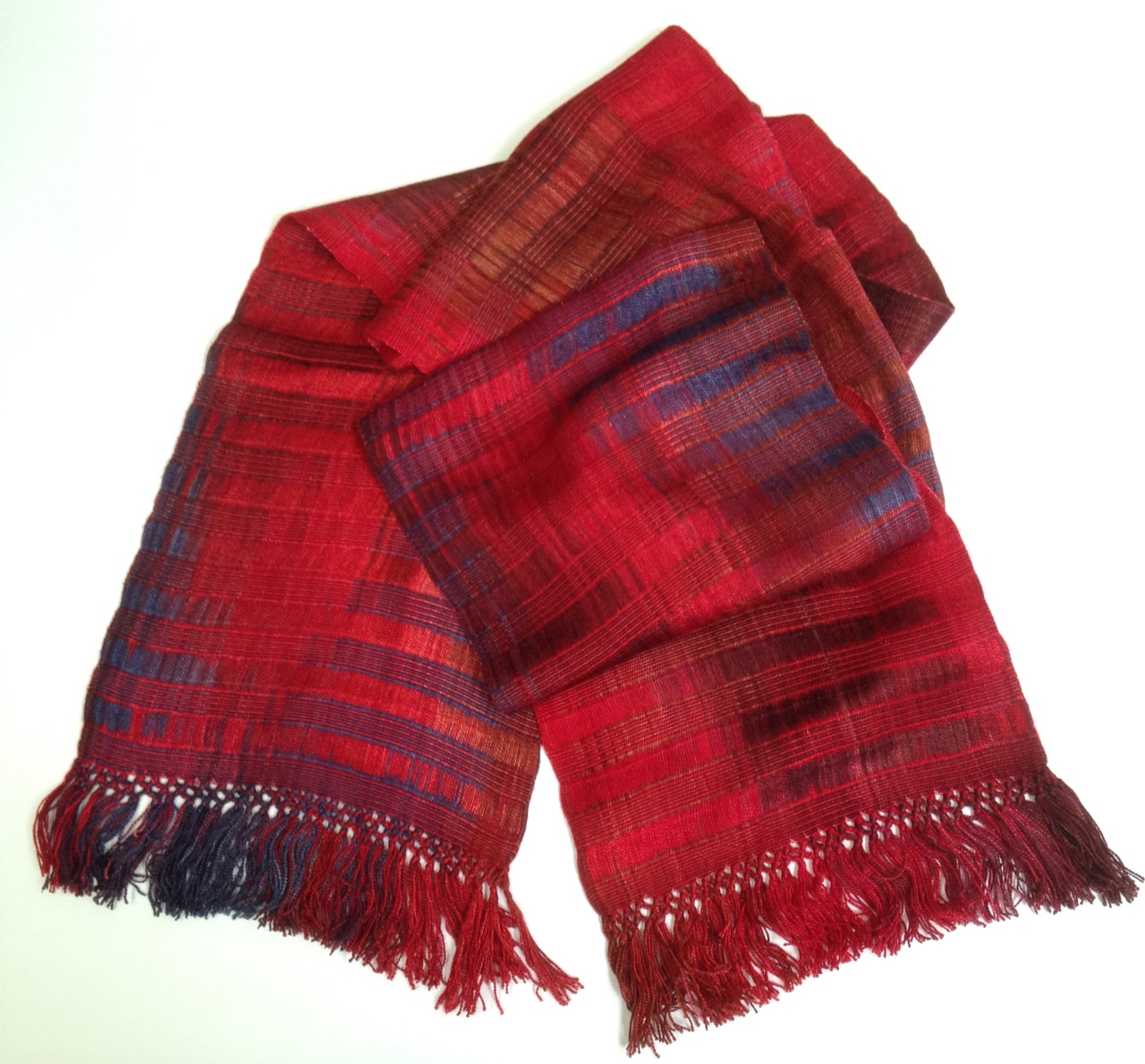 Red, Blue, Light Coffee - Lightweight Bamboo Handwoven Scarf, Open Weave, 8