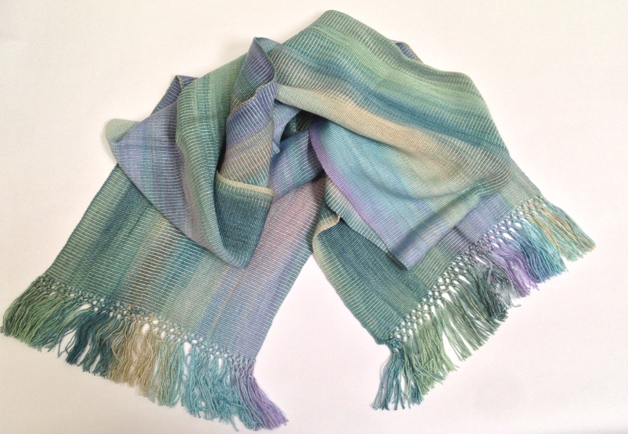 Pale Blue, Lilac, Jade, Beige - Lightweight Bamboo Handwoven Scarf 8 x 68
