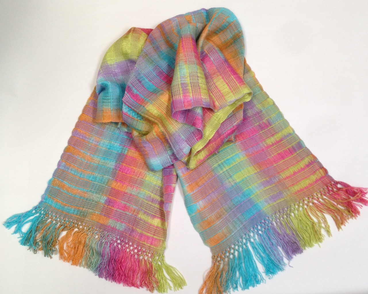Brilliant Pastels - Lightweight Bamboo Open-Weave Handwoven Scarf 8 x 68