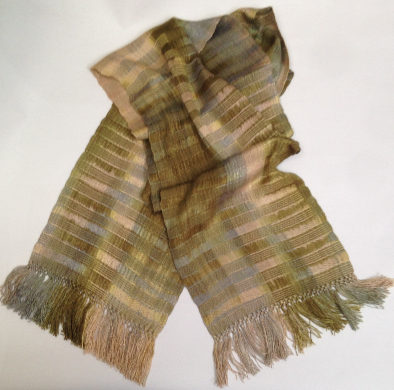 Beige Olive -  Lightweight Bamboo Handwoven Scarf, Open Weave, 8