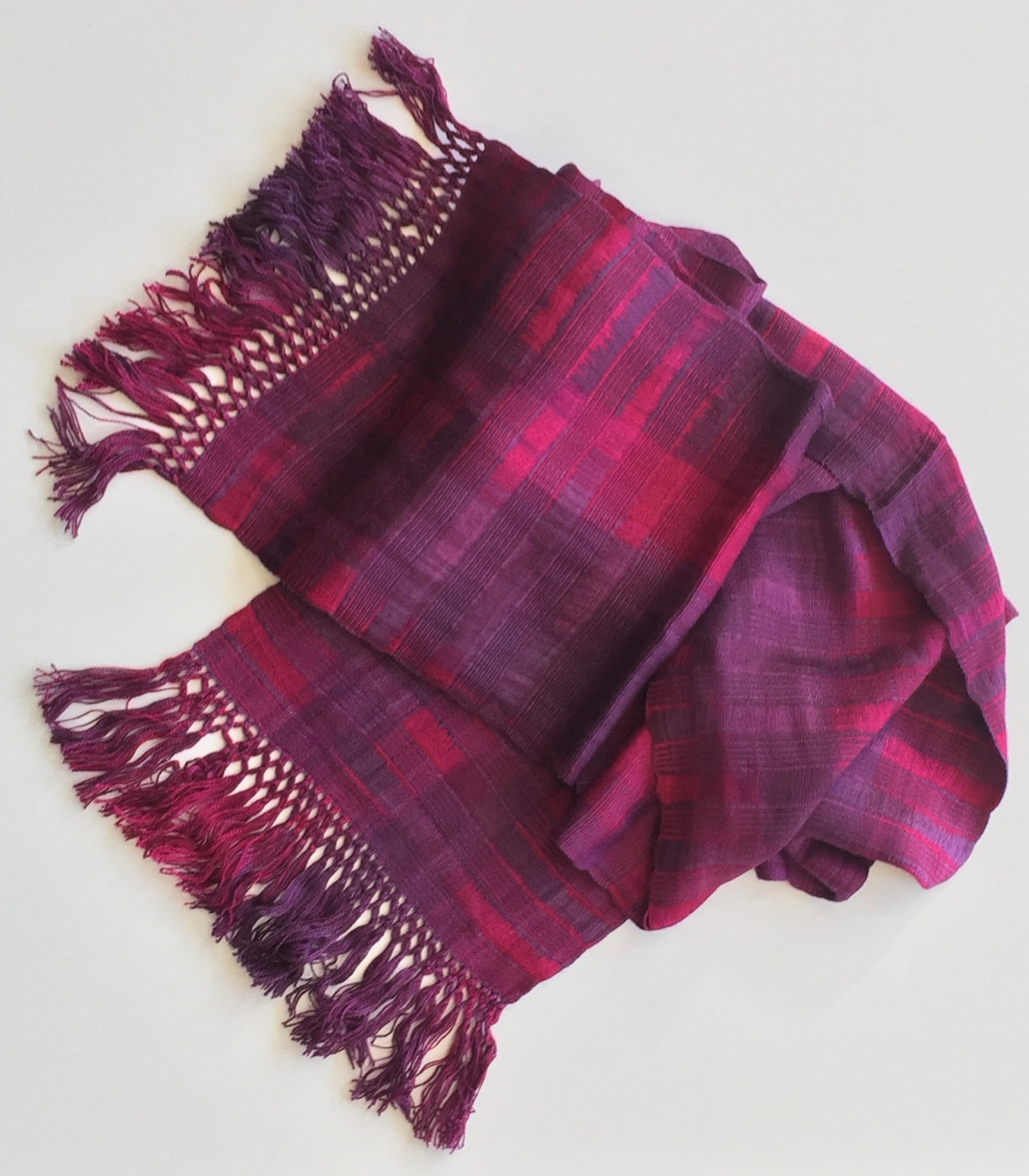 Magenta, Purple - Lightweight Bamboo Open-Weave Handwoven Scarf 8