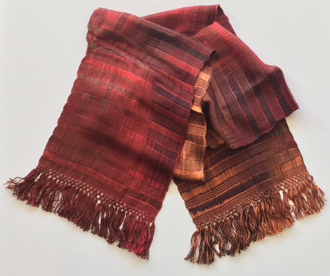 Rich Reds and Copper - Lightweight Bamboo Handwoven Scarf, Open Weave, 8