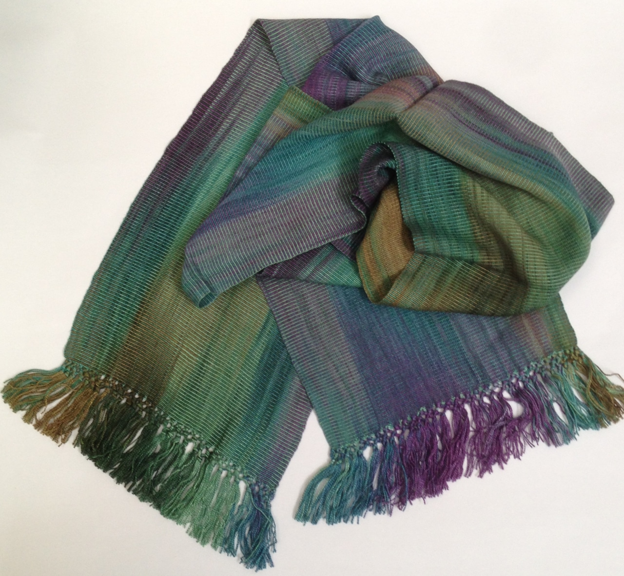 "Green, Purple, Blue - Lightweight Bamboo Handwoven Scarf 8"" x 67"""