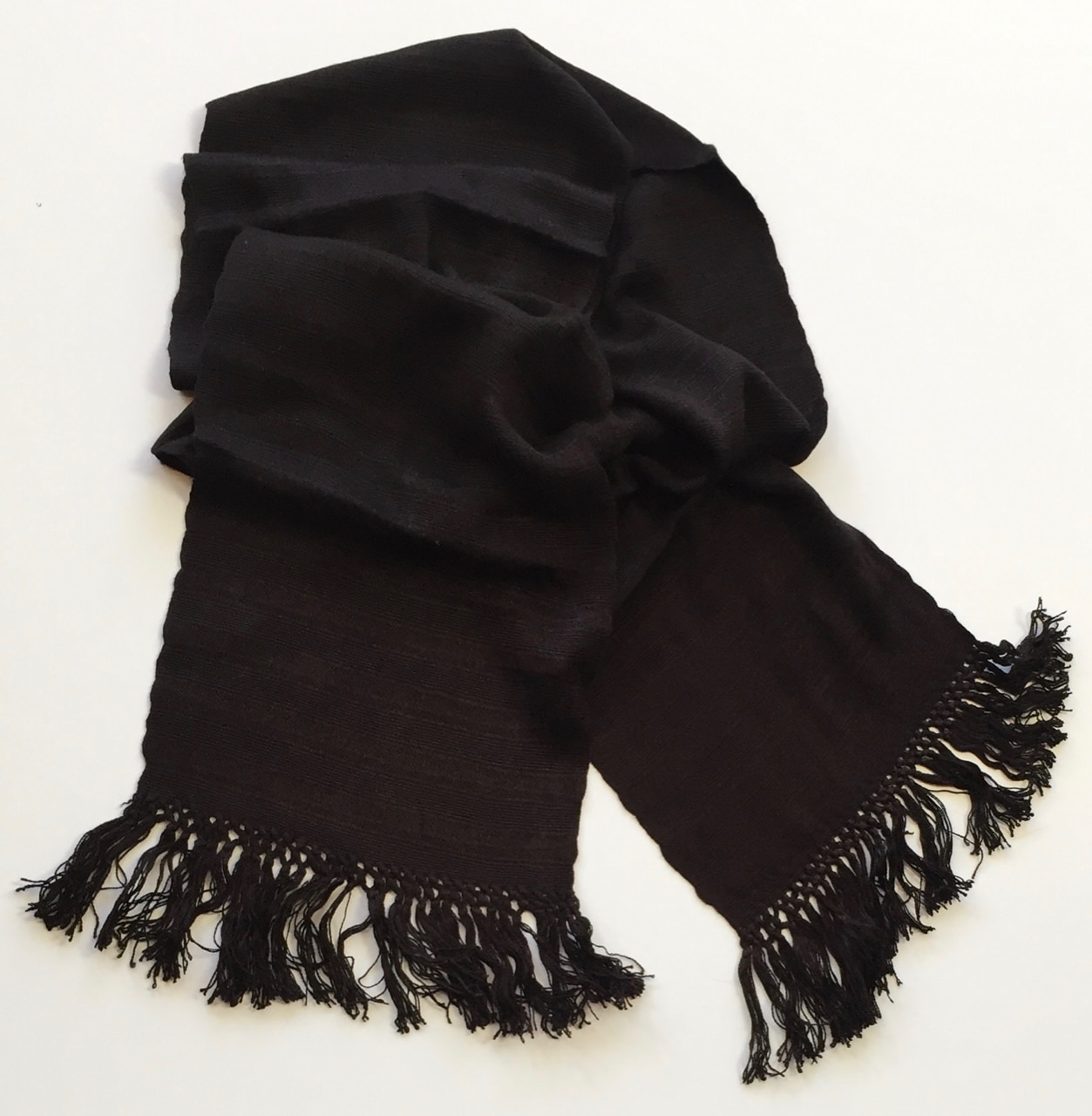 Black - Lightweight Bamboo Handwoven Scarf, Open Weave, 8