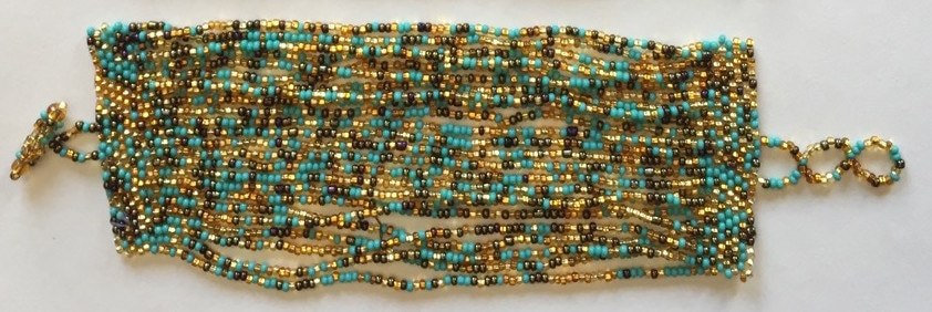 24-Strand Beaded Bracelet - Turquoise and Golds