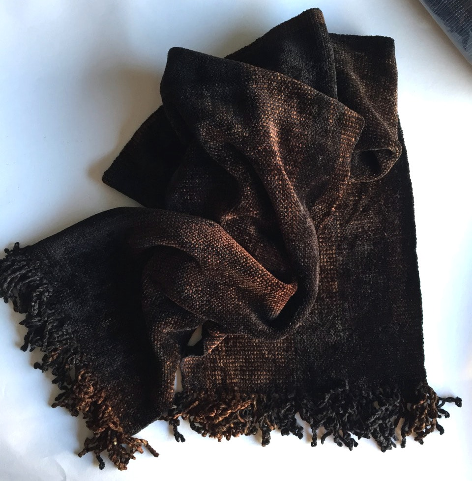 Browns and Black - Bamboo Chenille Handwoven Scarf 8