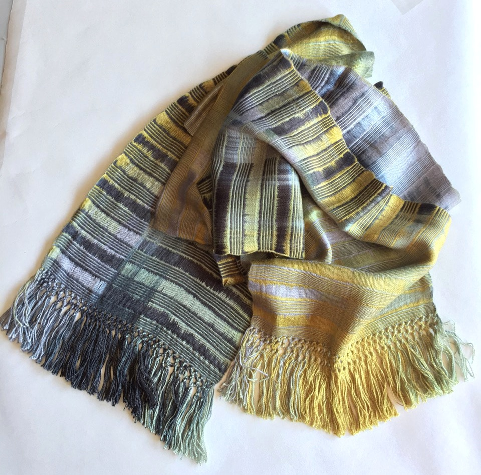 Gray, Gold, Black - Lightweight Bamboo Open-Weave Handwoven Scarf 8