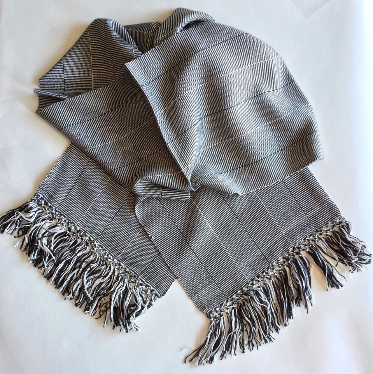 Black and White Log Cabin Weave - Lightweight Bamboo Handwoven Scarf 8 x 68