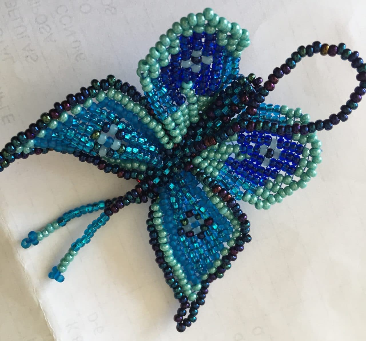 Butterfly Beaded Ornament - Blue