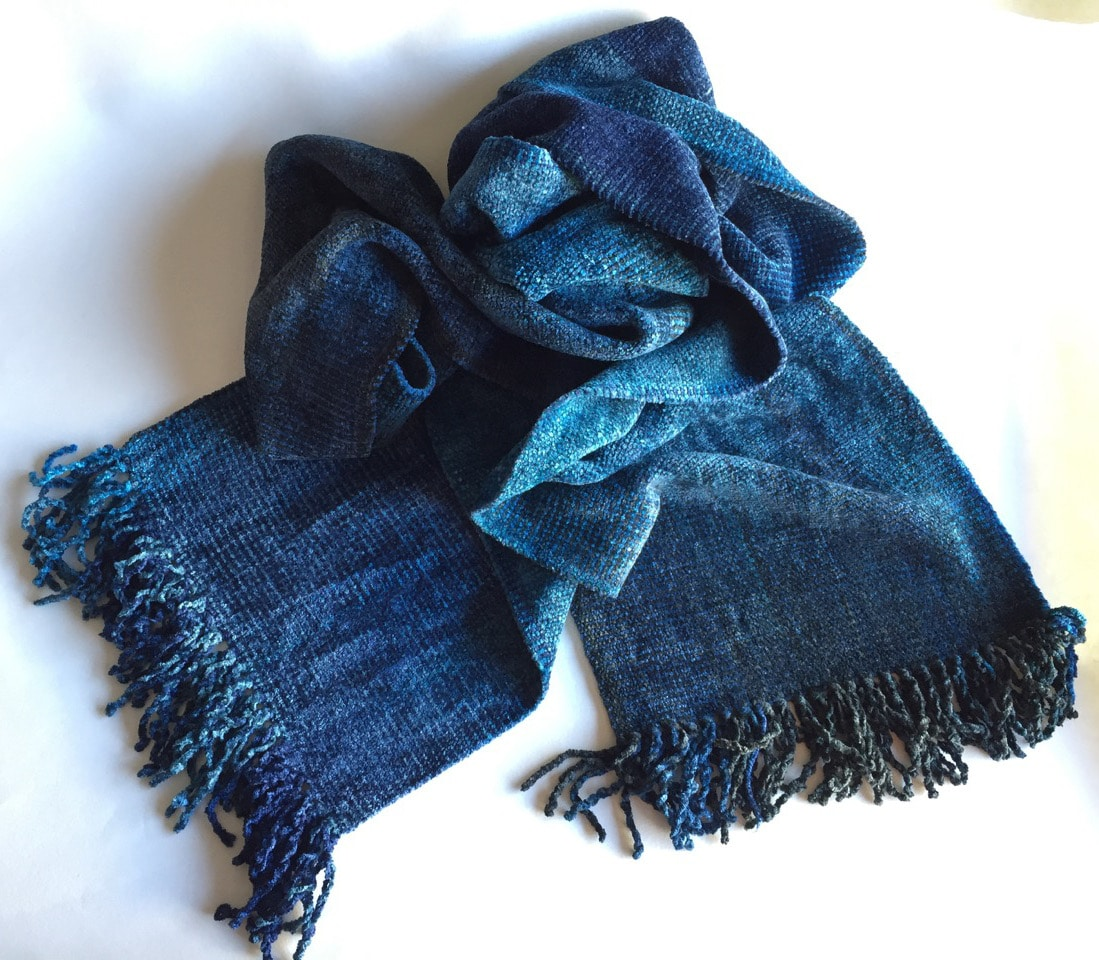Blues, Dark Gray - Bamboo Chenille Handwoven Scarf 8 x 68