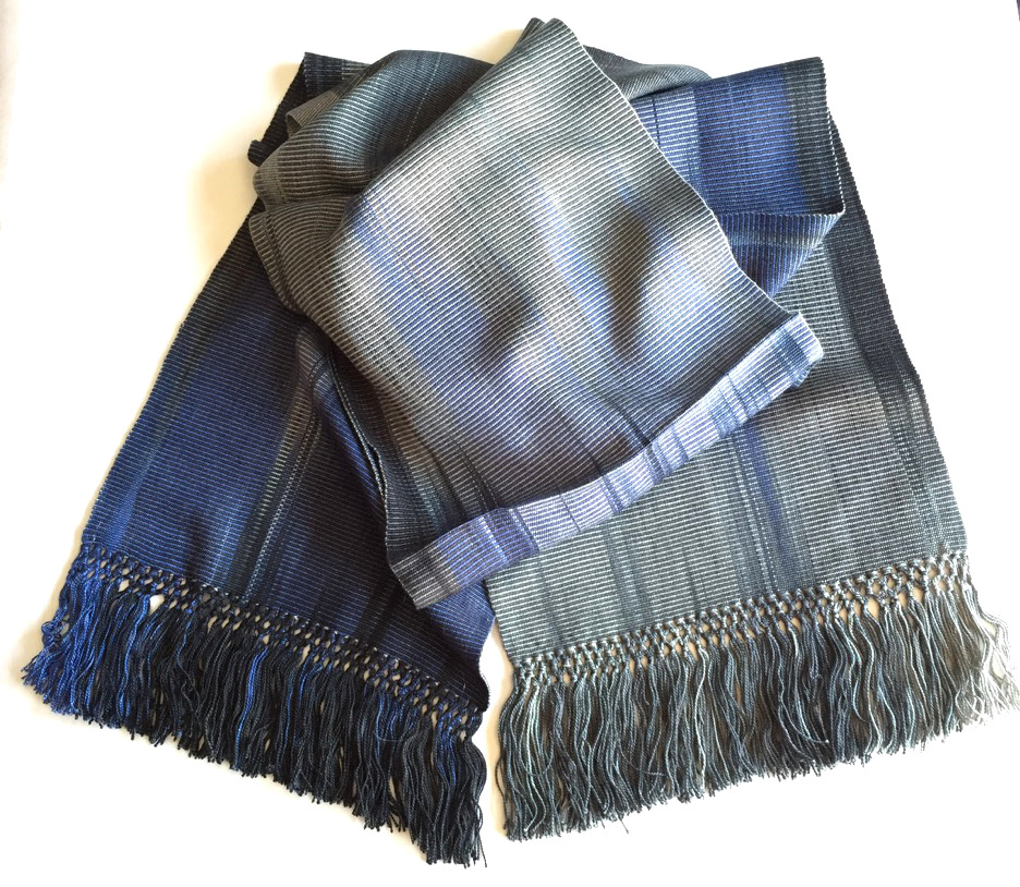 Blue, Grays, Black - Lightweight Bamboo Handwoven Scarf 8 x 68