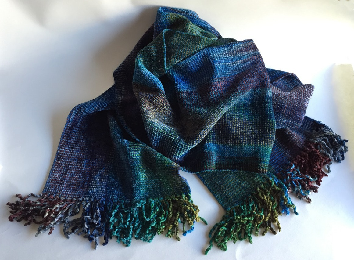 Blue, Green, Burgundy, Gray - Bamboo Chenille Handwoven Scarf 8