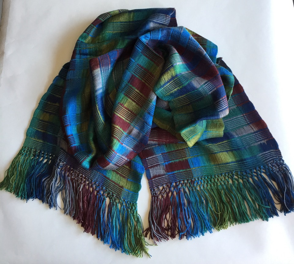 Blue, Green, Burgundy, Gray - Lightweight Bamboo Open-Weave Handwoven Scarf 8