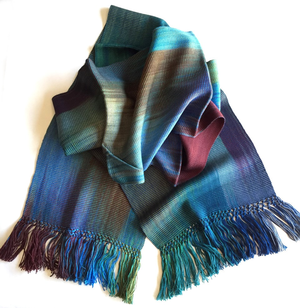 Blue, Green, Burgundy, Gray - Lightweight Bamboo Handwoven Scarf 8
