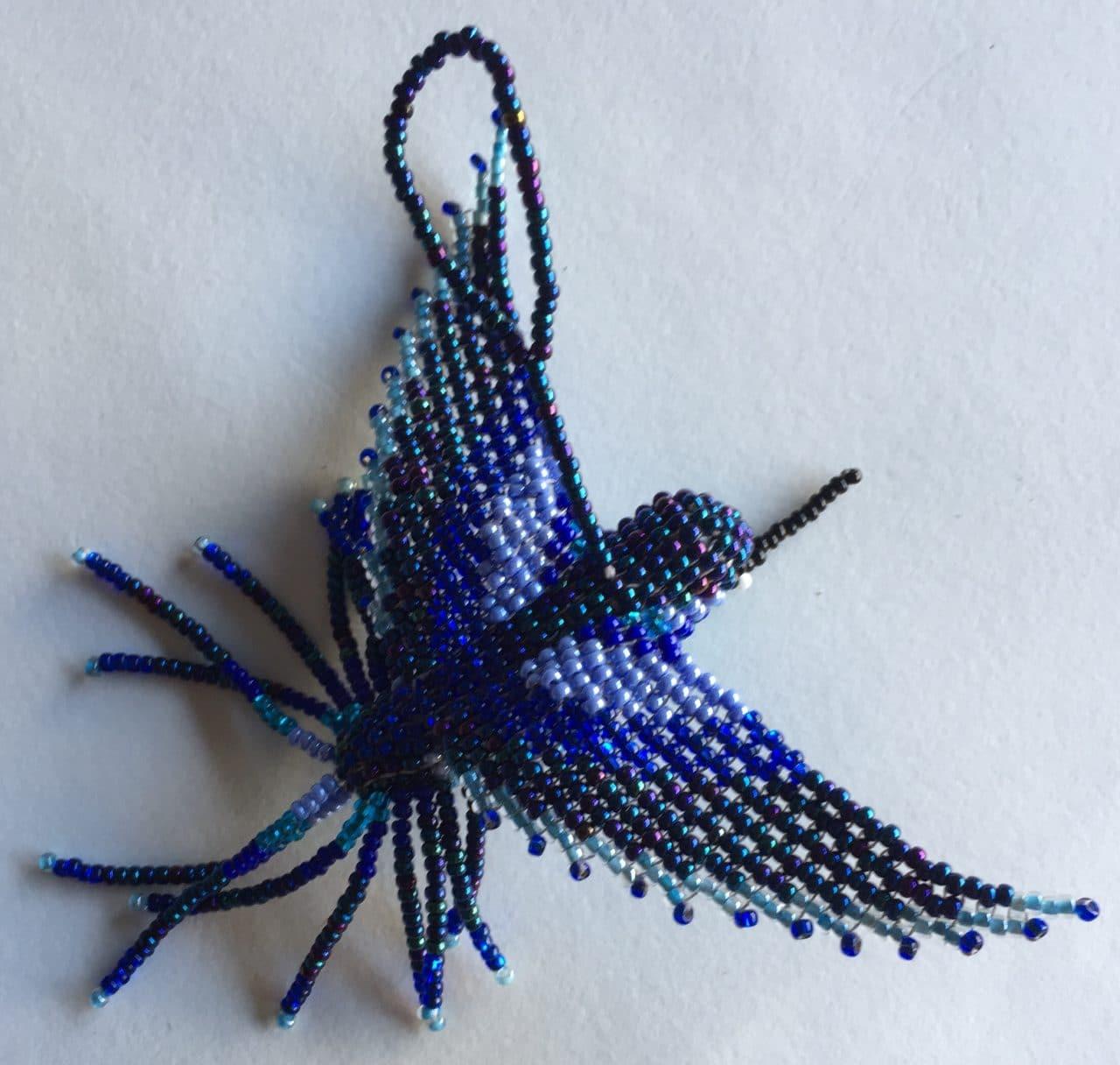 Hummingbird Beaded Ornament - Blue