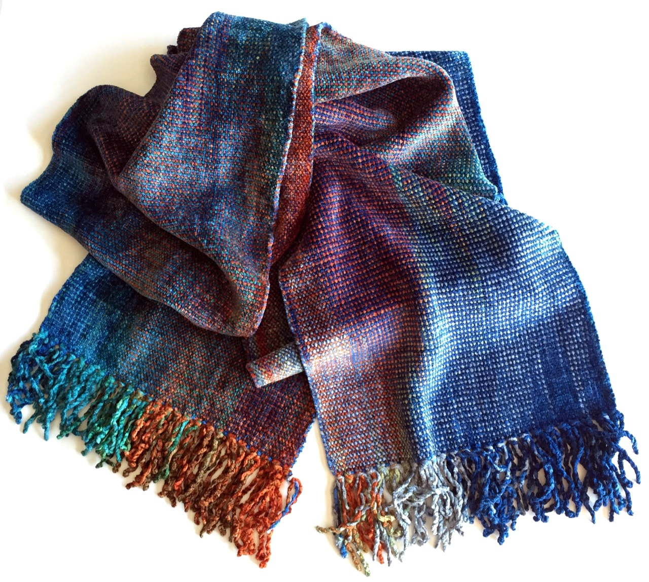 Blue, Orange, Gray - Bamboo Chenille Handwoven Scarf 8