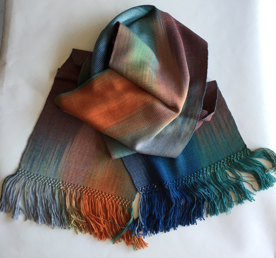Blue, Orange, Gray - Lightweight Bamboo Handwoven Scarf 8