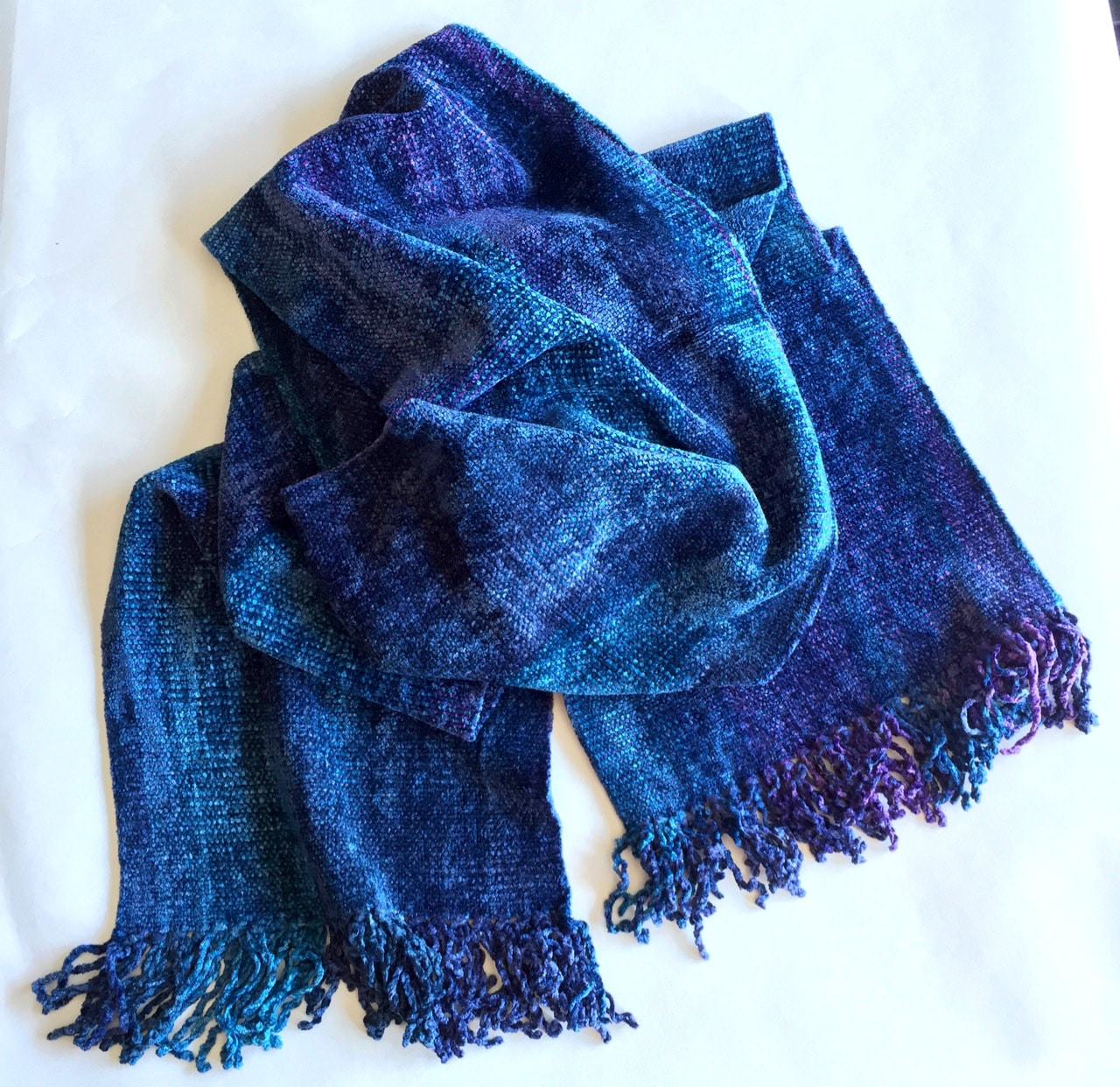 Blues, Purples - Bamboo Chenille Handwoven Scarf 8
