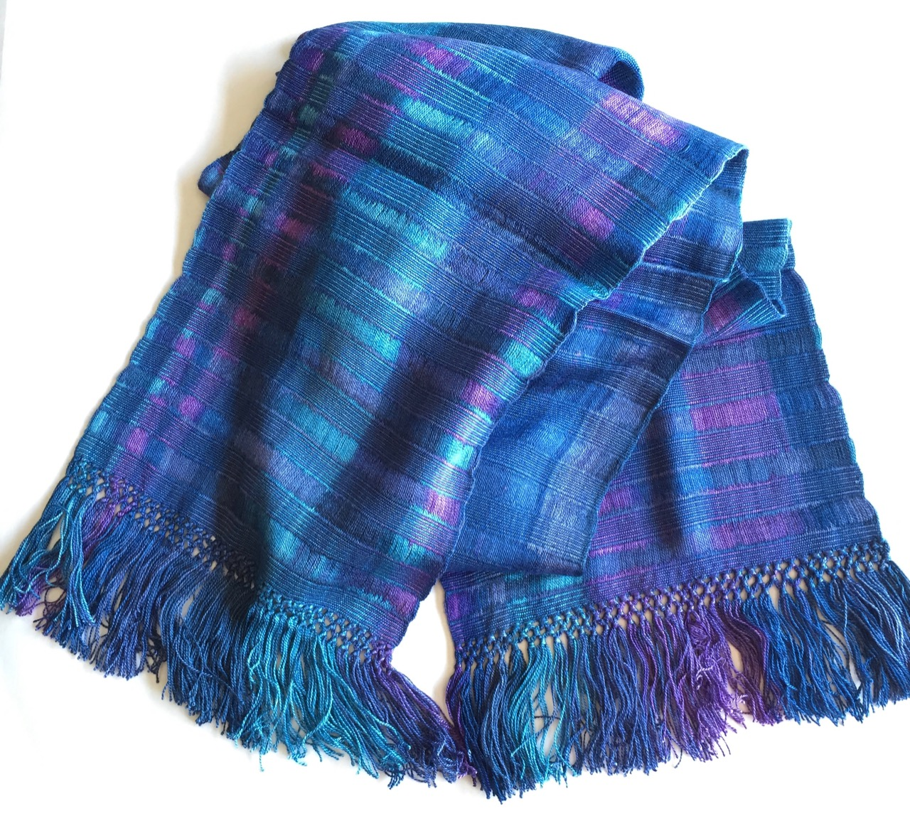 Blues, Purples - Lightweight Bamboo Open-Weave Handwoven Scarf 8
