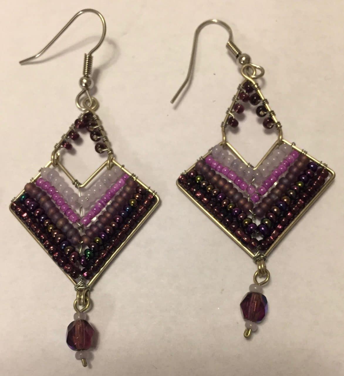 Chevron Earrings - Purples
