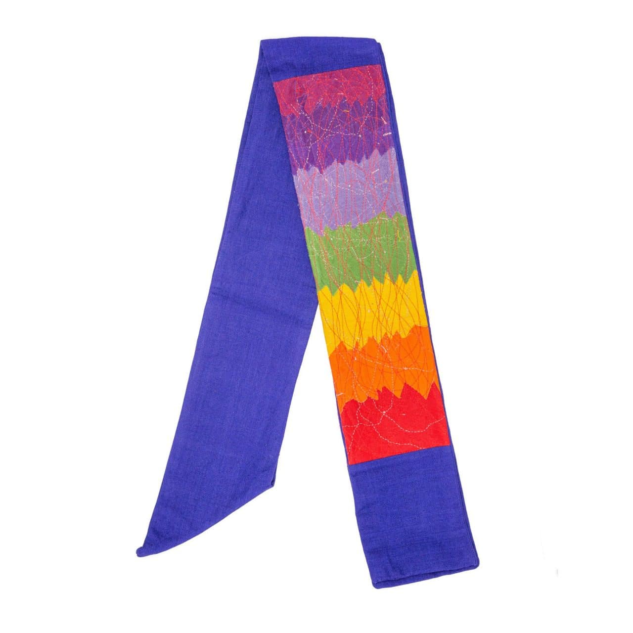 Contemporary Clerical Stole - Rainbow and Blue