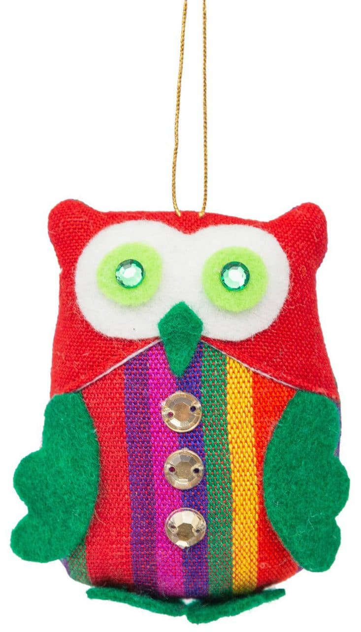 Owl Ornament with Striped Vest