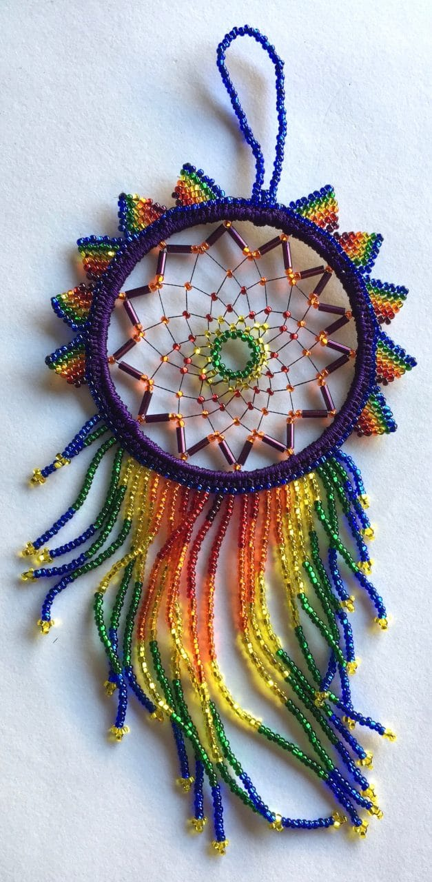 Dreamcatcher - Beaded - Rainbow with Blue