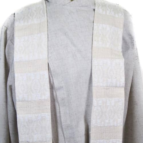 Brocaded Clerical Stole - White