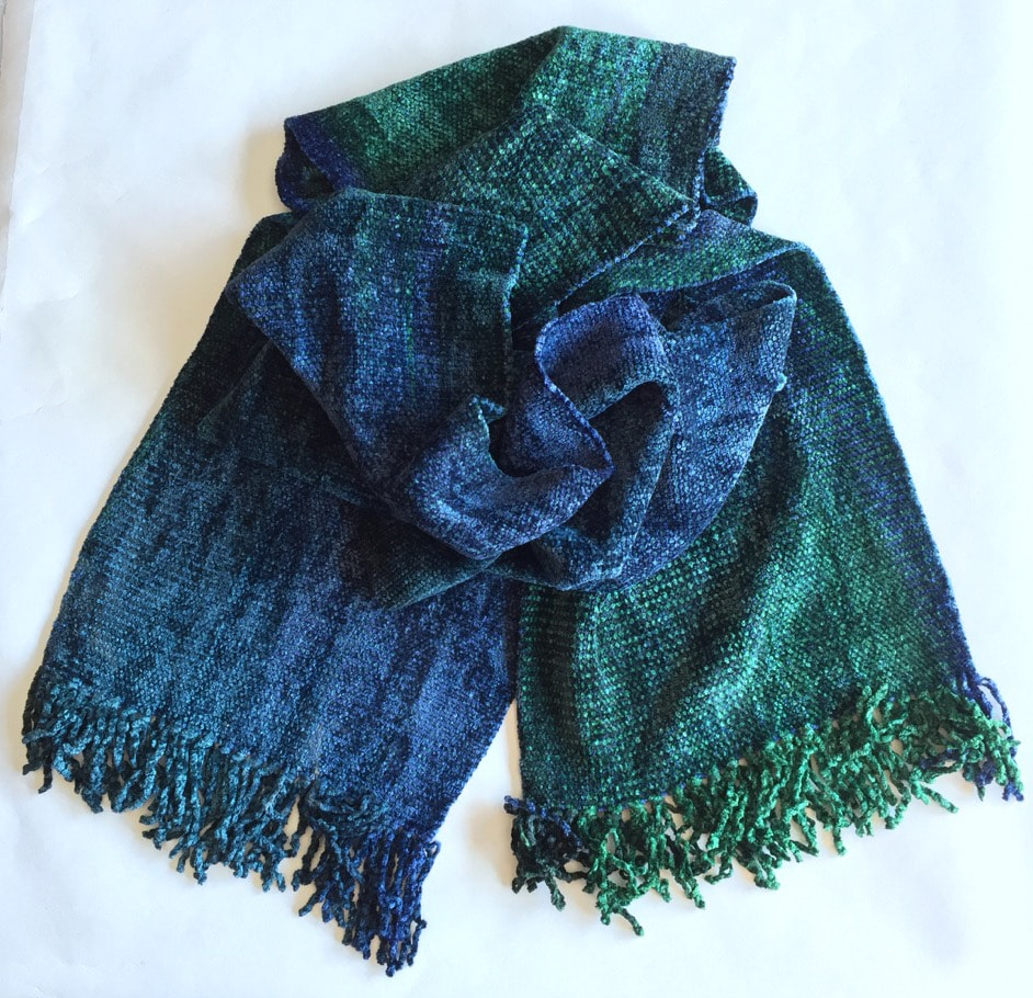 Emerald and Sapphire (Green and Blue) - Bamboo Chenille Handwoven Scarf 8
