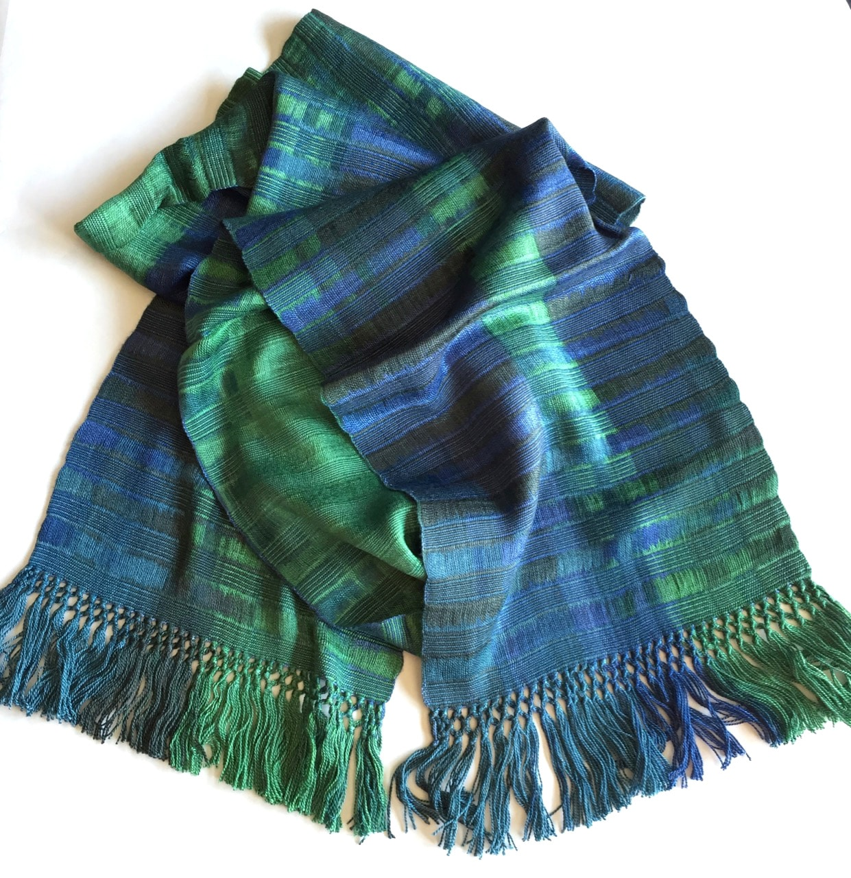 Emerald and Sapphire (Green and Blue) - Lightweight Bamboo Open-Weave Handwoven Scarf 8