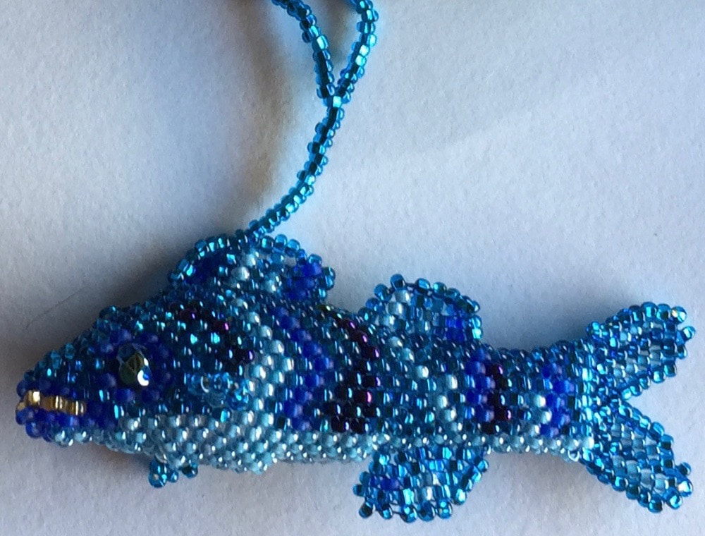 Fish Beaded Ornament - Blue