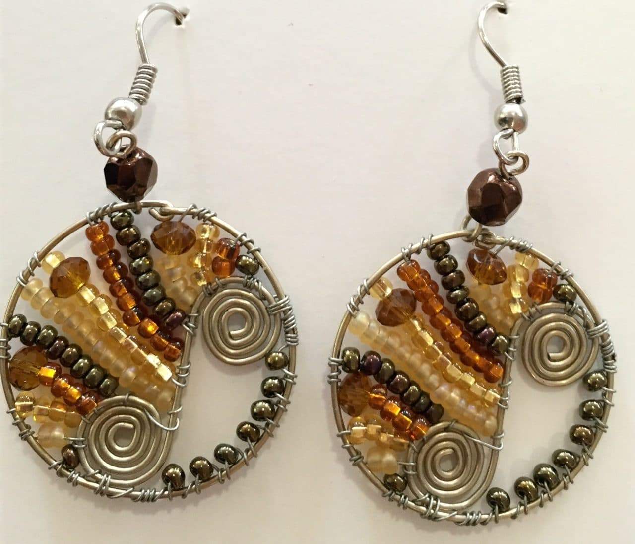 Flowing Spiral Circle Earrings - Golds