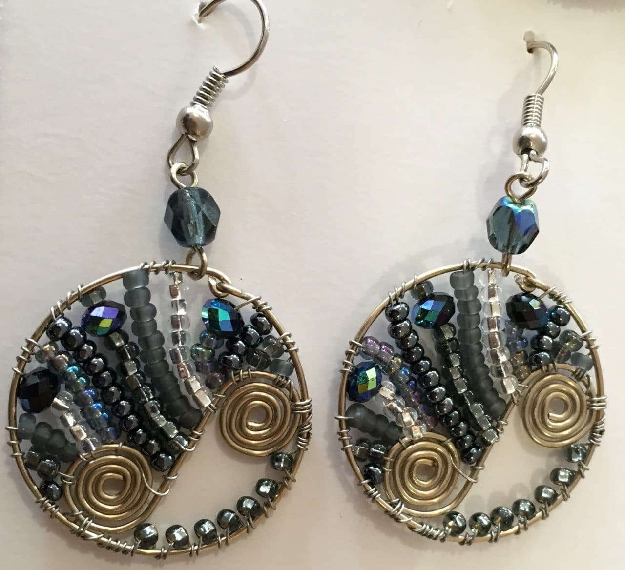 Flowing Spiral Circle Earrings - Grays
