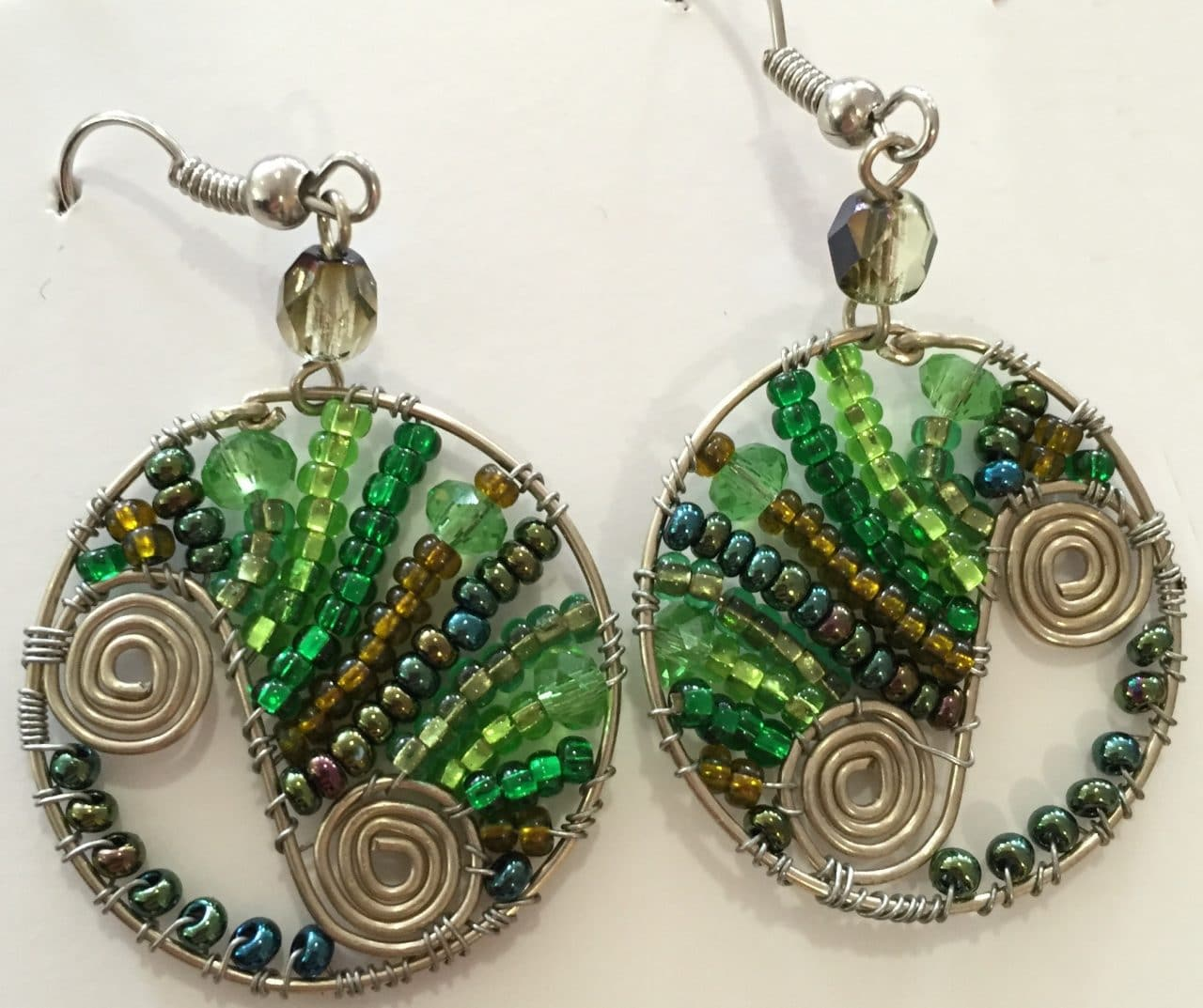 Flowing Spiral Circle Earrings - Greens