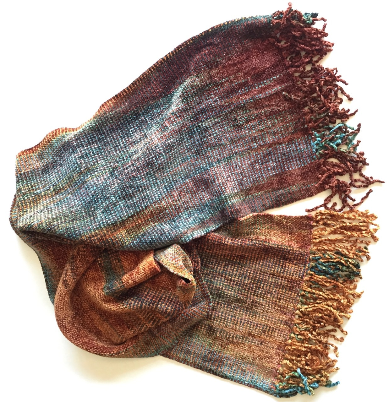 Gold, Burgundy, Black, White, Gray - Bamboo Chenille Handwoven Scarf - Space-Dyed 8