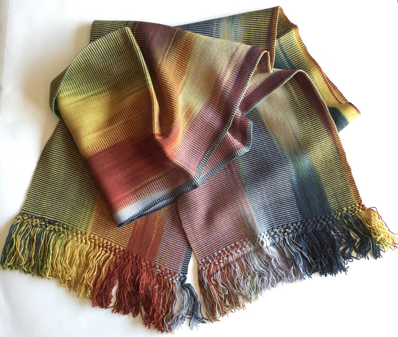 Gold, Burgundy, Black, White, Gray - Lightweight Bamboo Handwoven Scarf 8 x 68