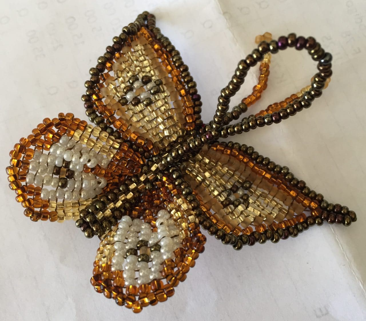 Butterfly Beaded Ornament - Gold