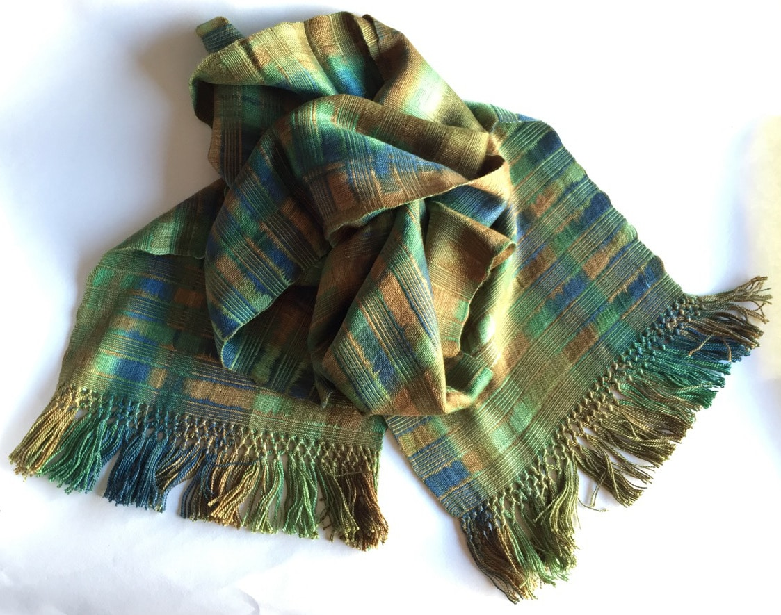 Greens, Brown, Copper - Lightweight Bamboo Open-Weave Handwoven Scarf 8