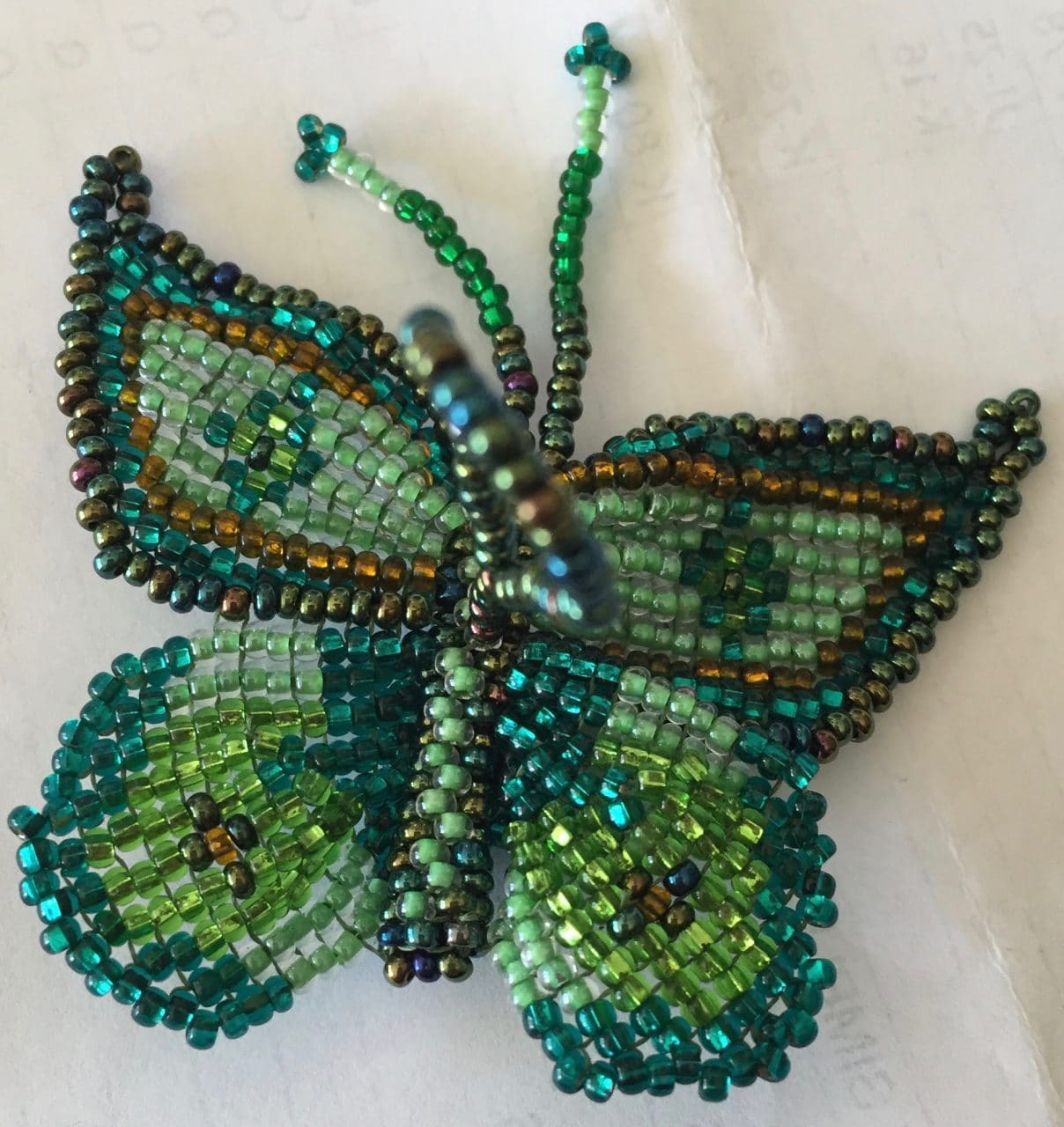 Butterfly Beaded Ornament - Greens