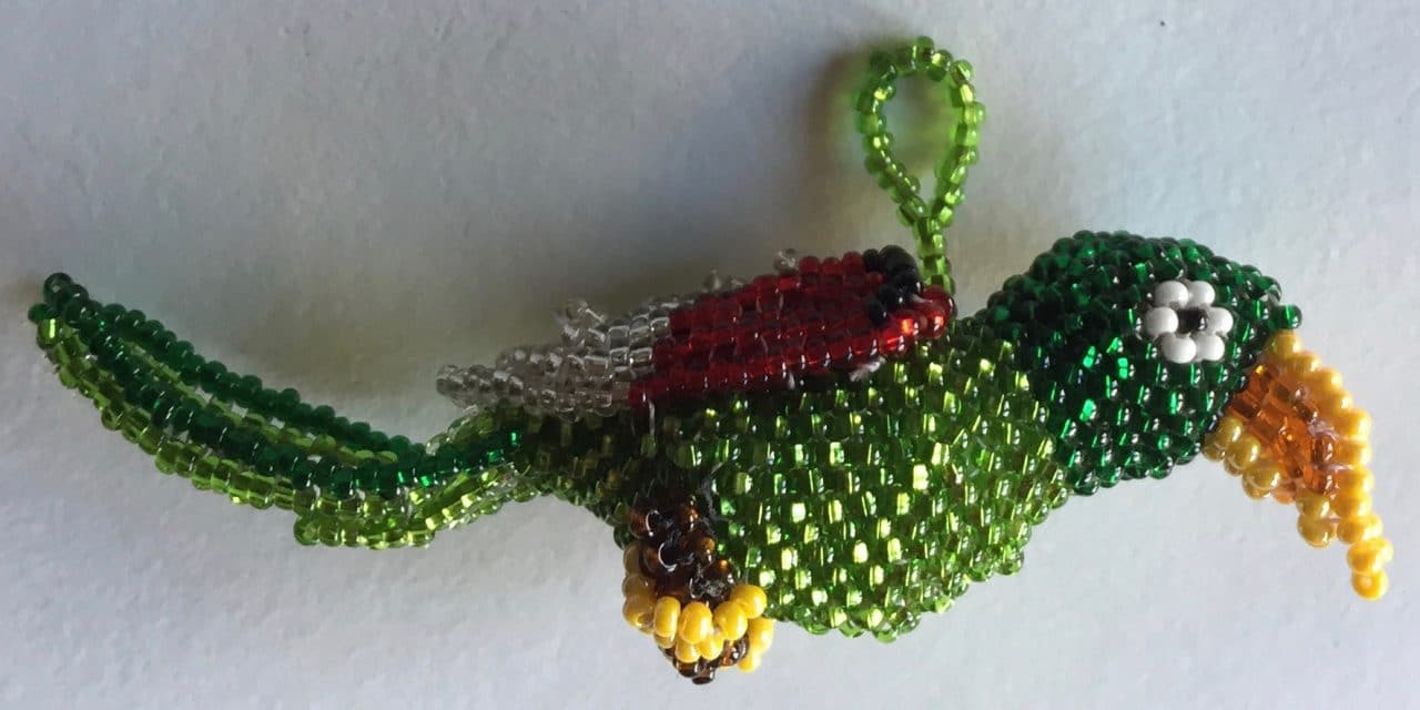 Parrot Beaded Ornament - Green